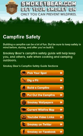 Smokey Bear mobile site