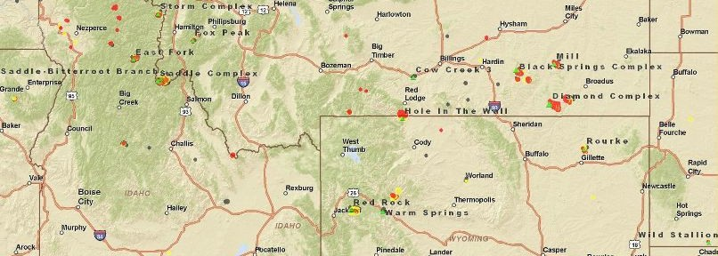 Map of fires Wyoming Idaho Montana, 1140 MT 8-25-2011