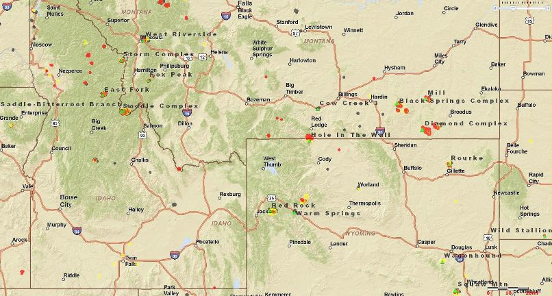 Map of fires Wyoming Idaho Montana, 1140 MT 8 25 2011   Wildfire Today