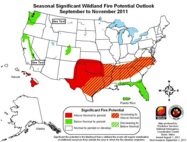 Wildfire potential, August through November, 2011