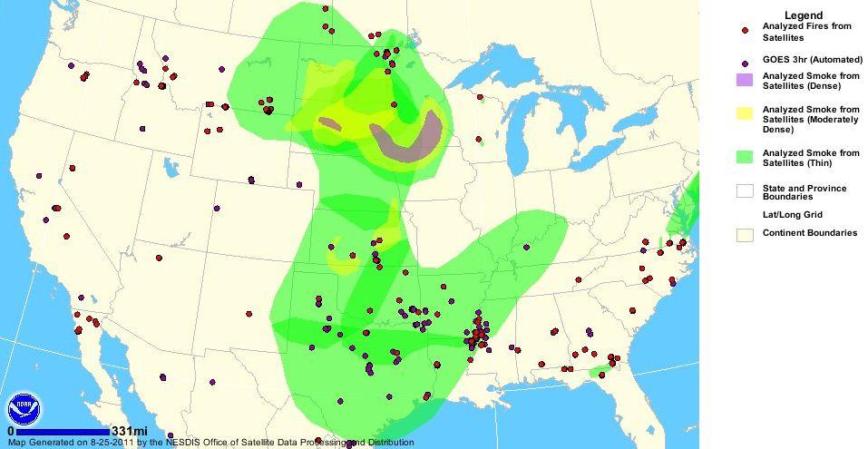 Wildfire smoke map 1454 MT 8-25-2011