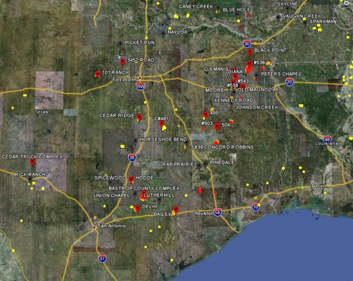 Map of large fires in Texas, 9-6-2011