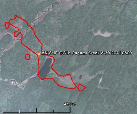 Map Pagami Creek fire 0800 8-30-2011