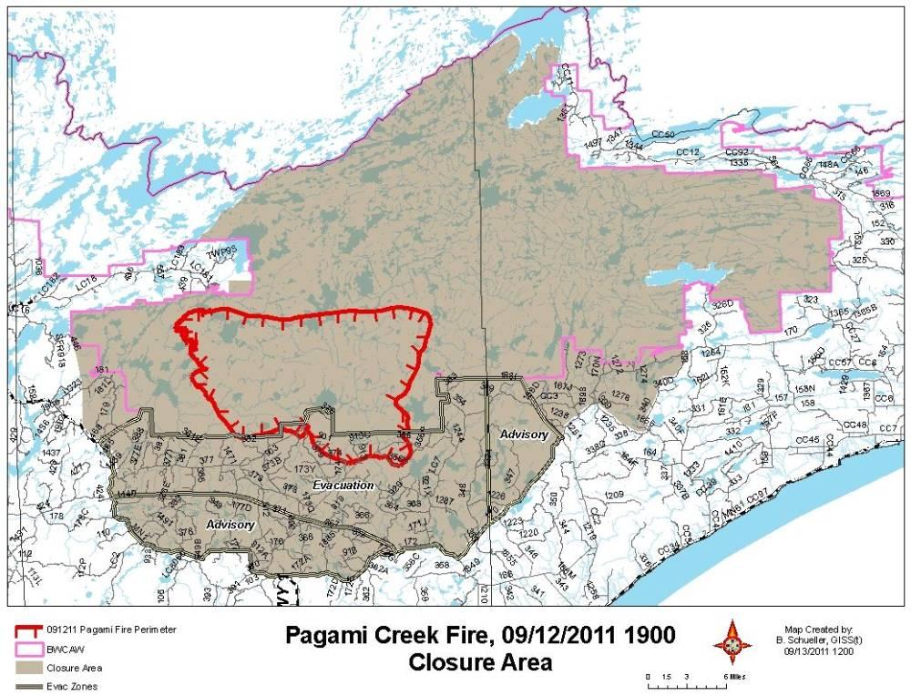 Map Pagami Creek fire closure 1900 9-12-2011