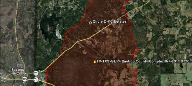Map of Bastrop fire 9-8-2011