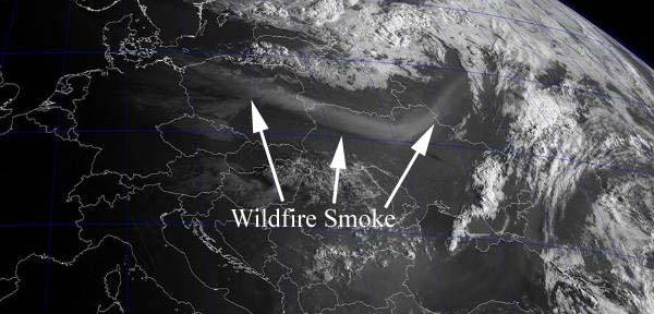 Pagami Creek fire smoke over eastern Europe, 0500 UTC 9-16-2011