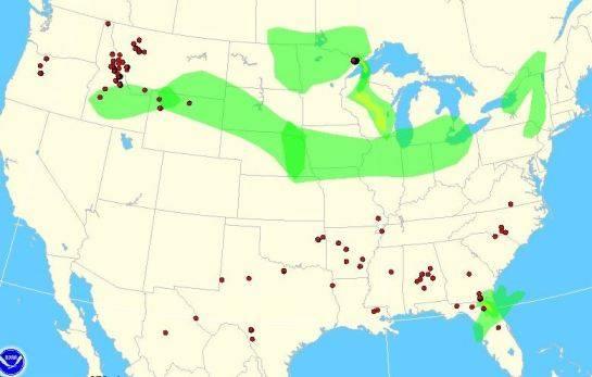 Wildfire smoke map, 2:06 pm Sept 13, 2011