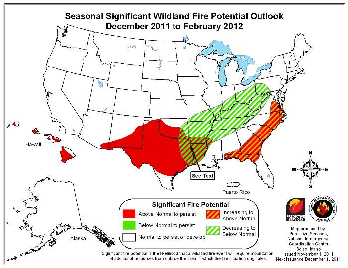 December - February wildfire outlook 2011-2012