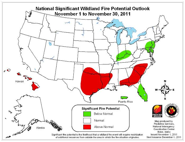 November wildfire outlook, 2011