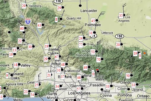 Wind speeds LA area 0943 PT 12-1-2011