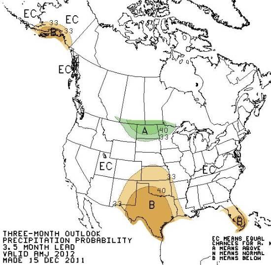 Precipitation outlook April through June 2012