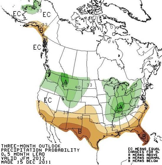 Precipitation outlook January through March 2012
