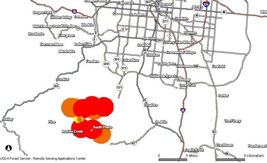 Map Lower North Fork Fire 0900 3-27-2012
