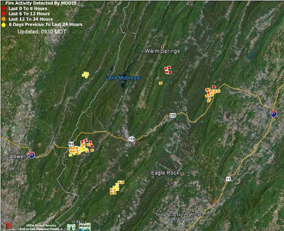 Map Virginia fires 4-11-2012