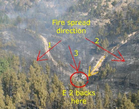 Coal Canyon fire entrapment site photo w-graphics