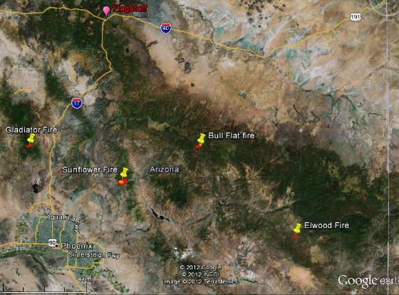 Map of fires in Arizona 2200 5-13-2012