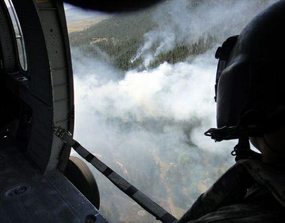 Fire seen through Blackhawk door