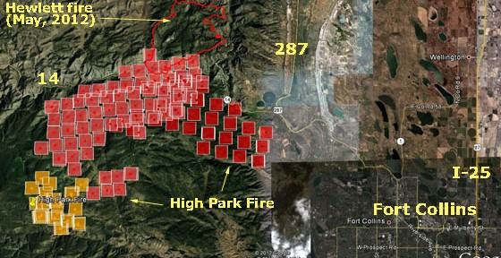 High Park fire update and map, June 10, 2012 — very active Saturday night