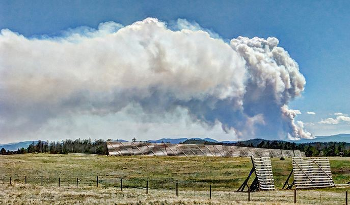 High Park Fire as seen from Tie Siding WY June 9, 2012