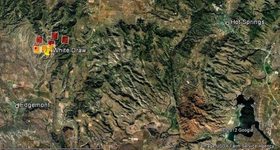 Map, White Draw fire, Edgemont, Hot Springs, South Dakota, fire, wildfire,