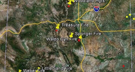 Map of Colorado wildfires, June 23, 2012