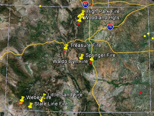 Map of Colorado wildfires, June 23, 2012   Wildfire Today