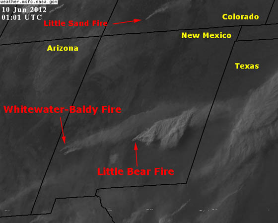 Satellite map of Little Bear fire 7:01 pm MDT June 9, 2012