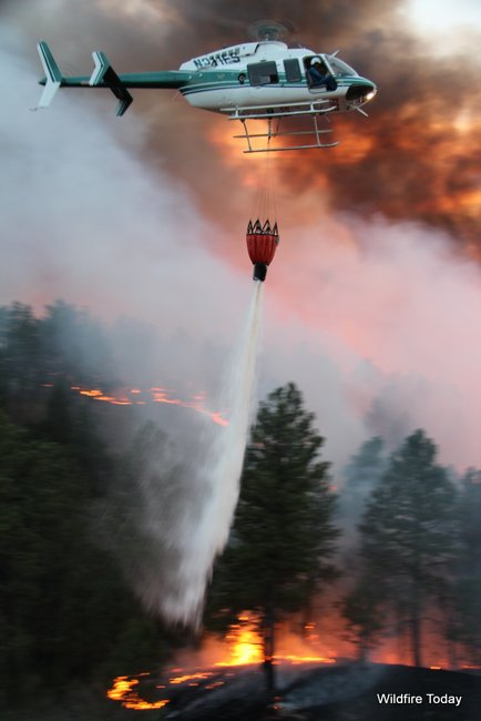 Helicopter dropping on White Draw Fire