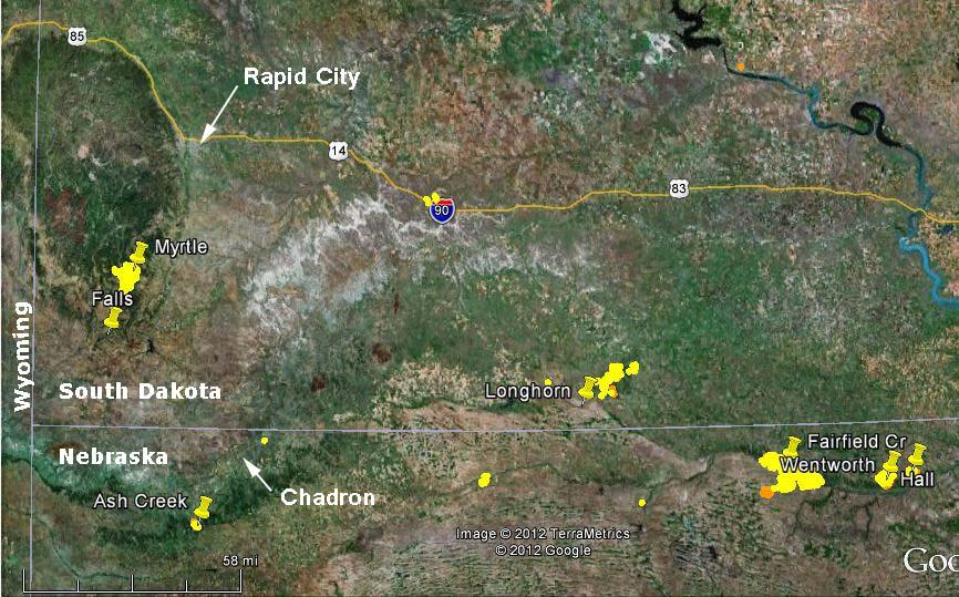Map, Nebraska-SD fire July 25, 2012 - Wildfire Today