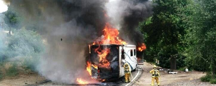 USFS firefighters attack motorhome fire