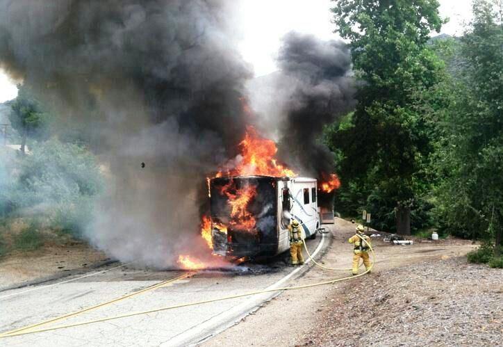 Motorhome Fire, San Bernardino National Forest, Oak Glen,