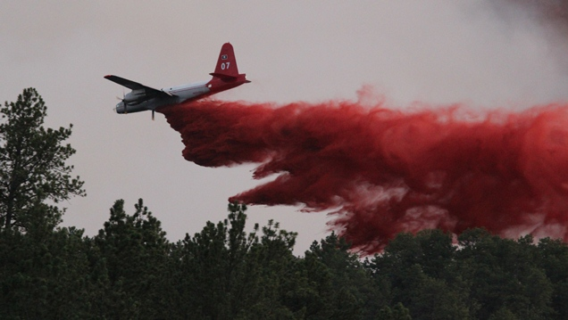 Air tanker dropping on the Myrtle Fire