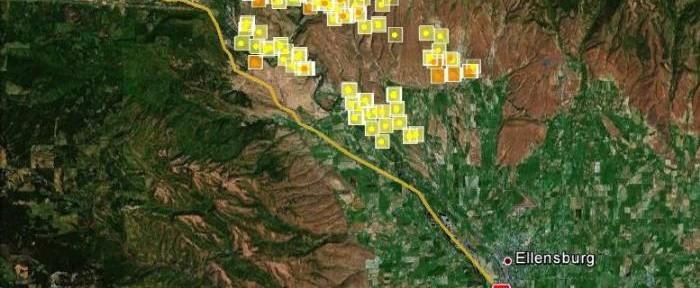 Map, Taylor Ridge fire, August 15, 2012