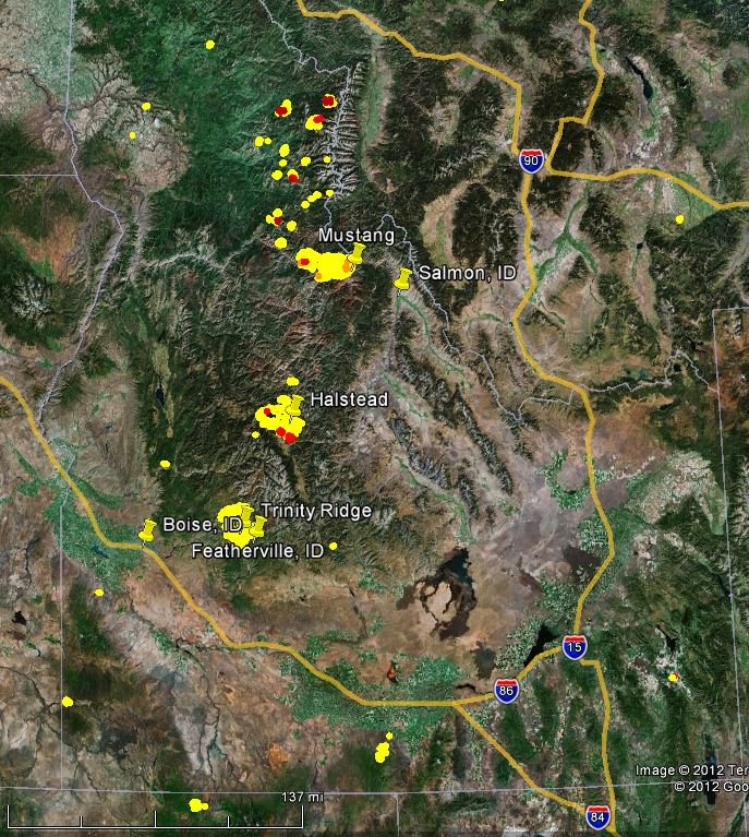 Map Of Mustang Halstead And Trinity Fires In Idaho Wildfire Today