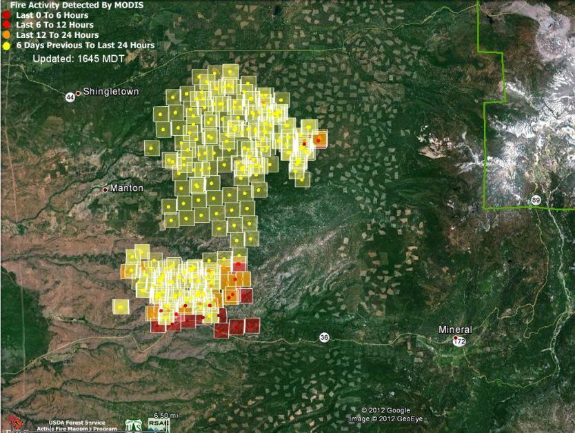 Map of Ponderosa Fire, 2:15 p.m. PT, August 21, 2012