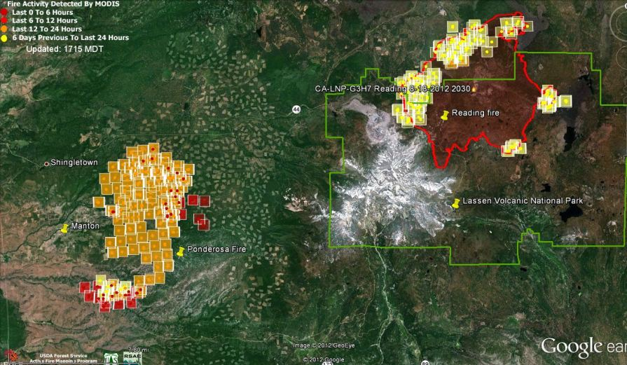 Map of Ponderosa and Reading fires 150 pm August 19, 2012