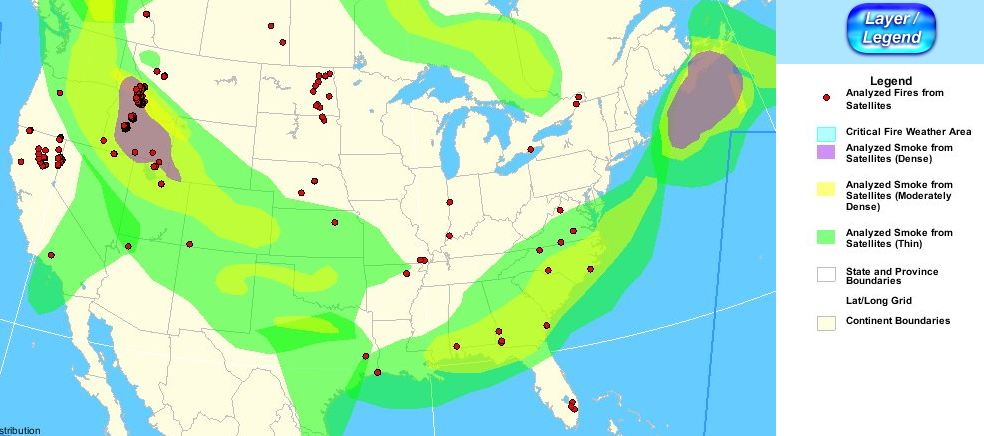 Wildfire smoke map, 6:36 p.m. MT, August 18, 2012