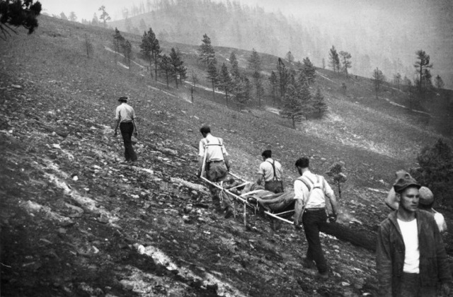 USFS team recovering bodies from Mann Gulch in 1949. Photo by Dick Wilson, part of the recovery team, courtesy John Maclean.
