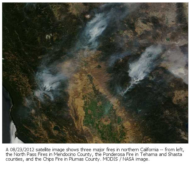 Northern California fires - satellite shot