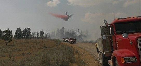 Fire near Pompeys Pillar, MT, BAe-146
