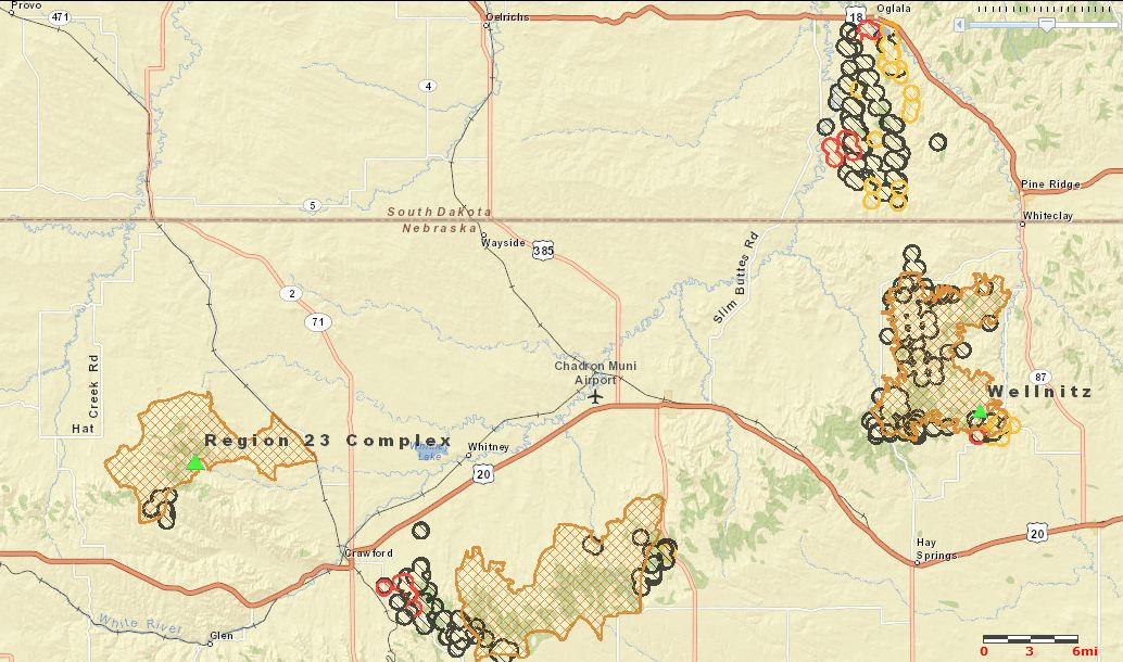 map of Nebraska and South Dakota fires, 122 am MT, Sept 2, 2012
