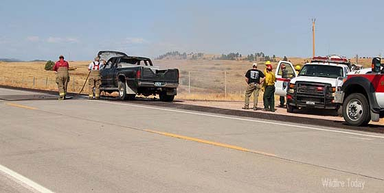 Vehicle fire south of Wind Cave National Park