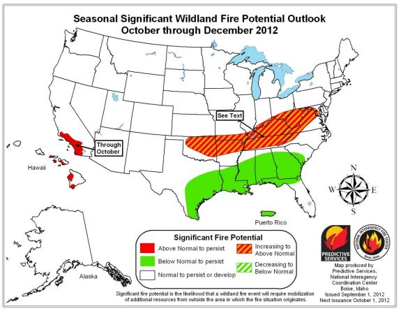 Wildfire outlook, October - December, 2012