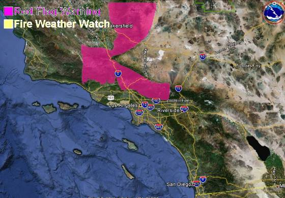Red Flag Warning, Southern California, October 1, 2012