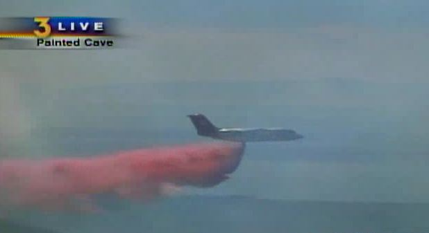 Tanker 41 drops on Lookout fire