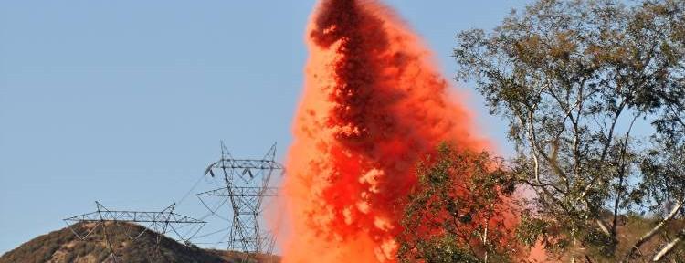 Spectacular retardant drop on Devore Fire