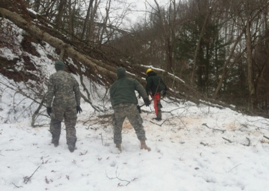 Laguna Hotshots clearing a road in West Virginia