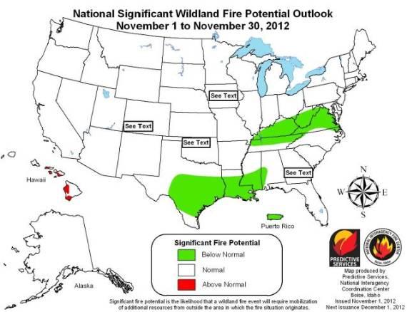 Wildfire potential, November, 2012