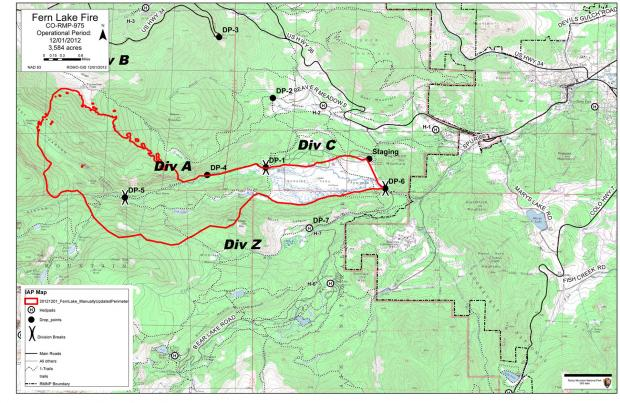Map Fern Lake Fire, December 1, 2012