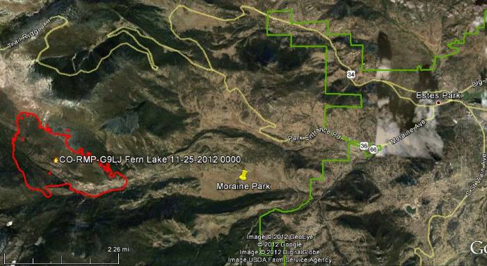 Map of Fern Lake Fire